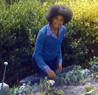 Teri with Afro in the Garden